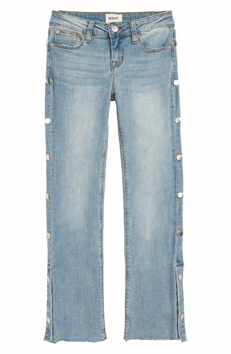 Hudson Kids Snappy Crop Fray Hem Straight Leg Jeans (Big Girls)