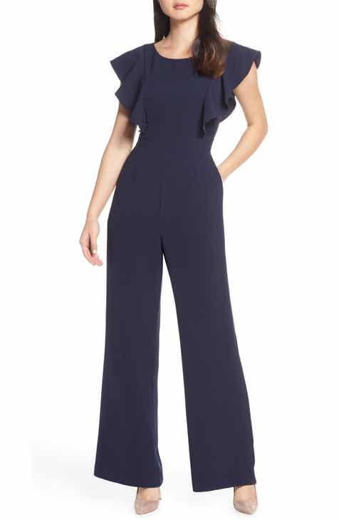 090a42b7f3d Eliza J Flutter Sleeve Jumpsuit (Regular   Petite)