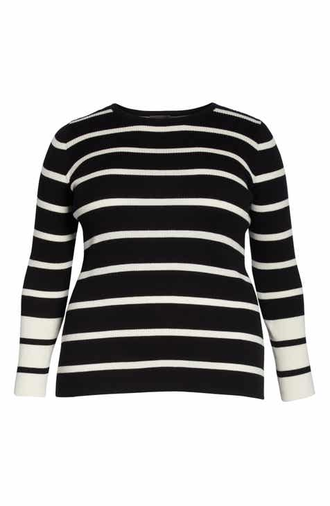 e8731bfc0bf Vince Camuto Ribbed Stripe Sweater (Plus Size)