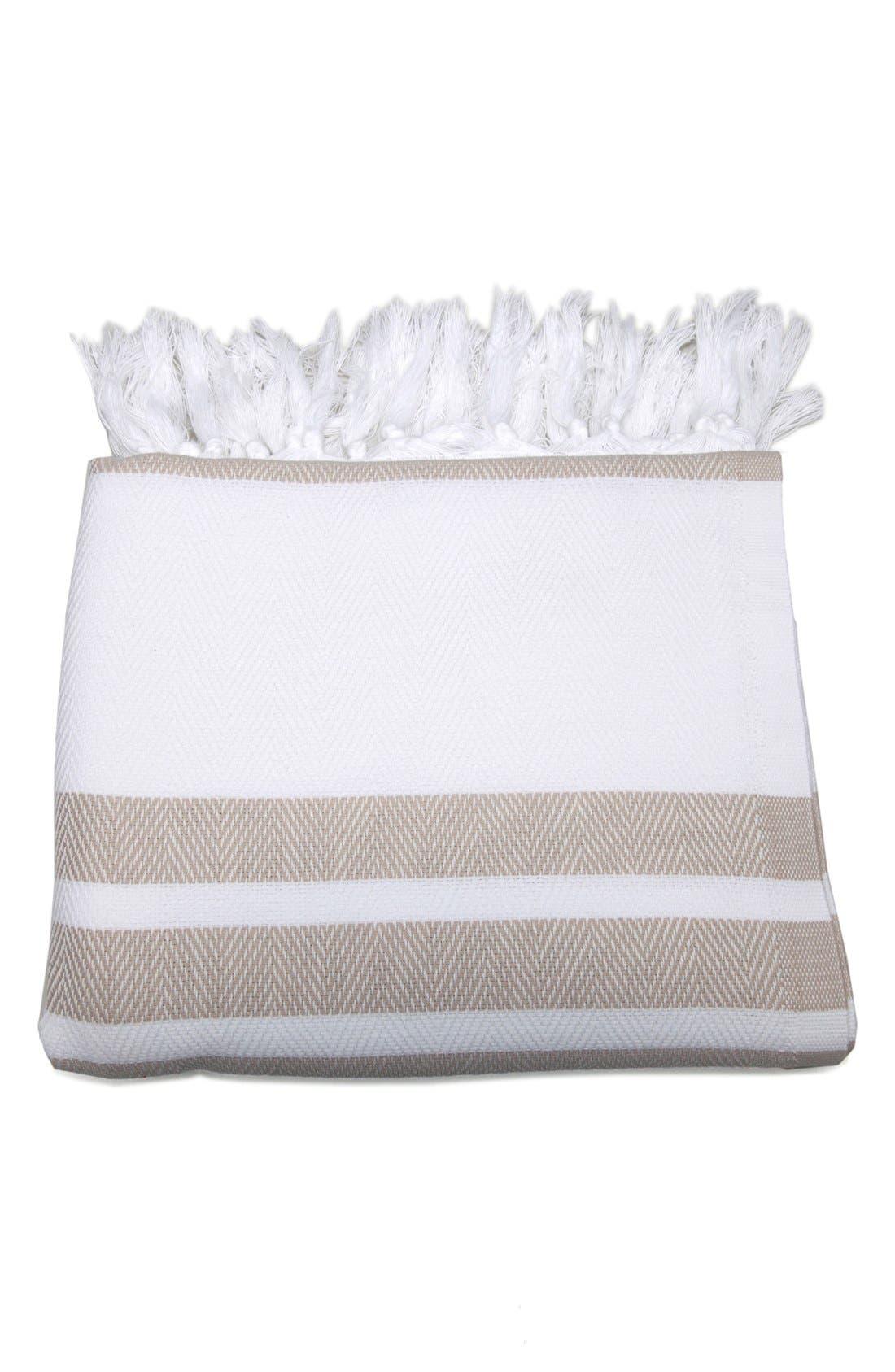 Linum Home Textiles Herringbone Striped Turkish Pestemal Towel