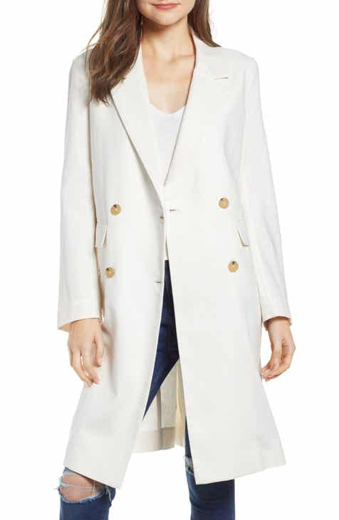 Prima Double-Breasted Long Linen & Cotton Jacket By PRIMA by PRIMA Sale
