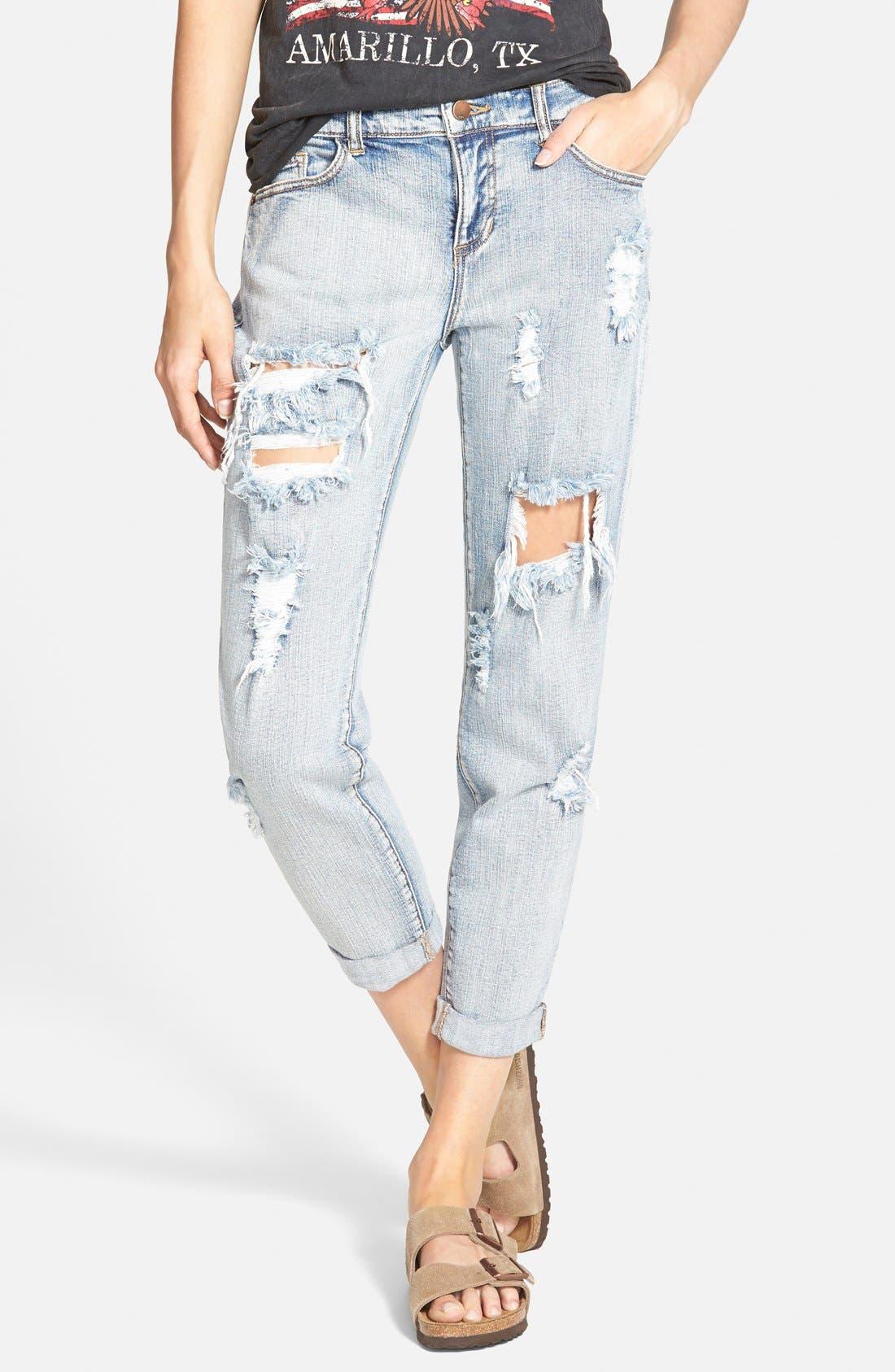 Alternate Image 1 Selected - SP Black Destroyed Boyfriend Jeans (Medium)
