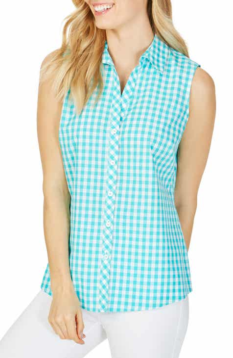 1796f1026ab3f Foxcroft Elisa Sweet Gingham Sleeveless Blouse