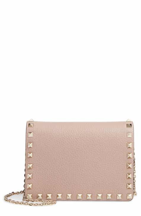 f231c3f954723 VALENTINO GARAVANI Rockstud Leather Pouch Wallet on a Chain