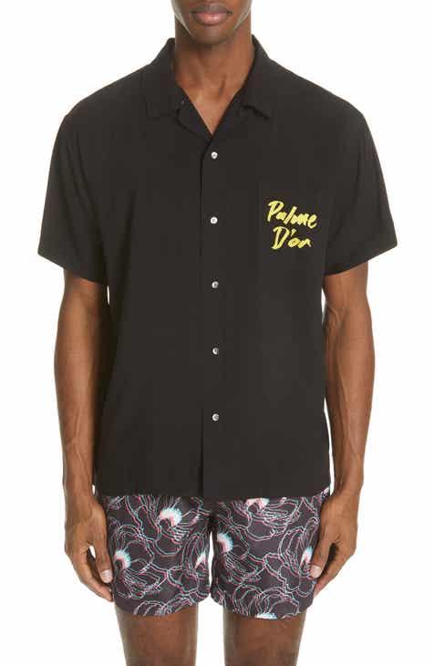e32f1e45a6ca53 Double Rainbouu Palm Graphic Camp Shirt