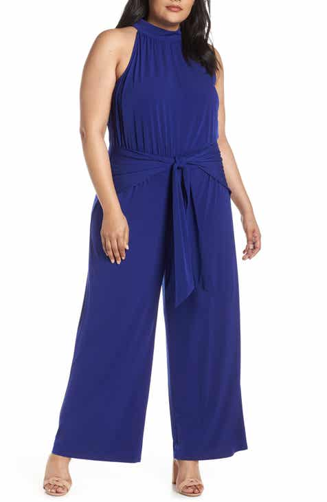 b16528425f34 Vince Camuto High Halter Neck Jumpsuit (Plus Size)