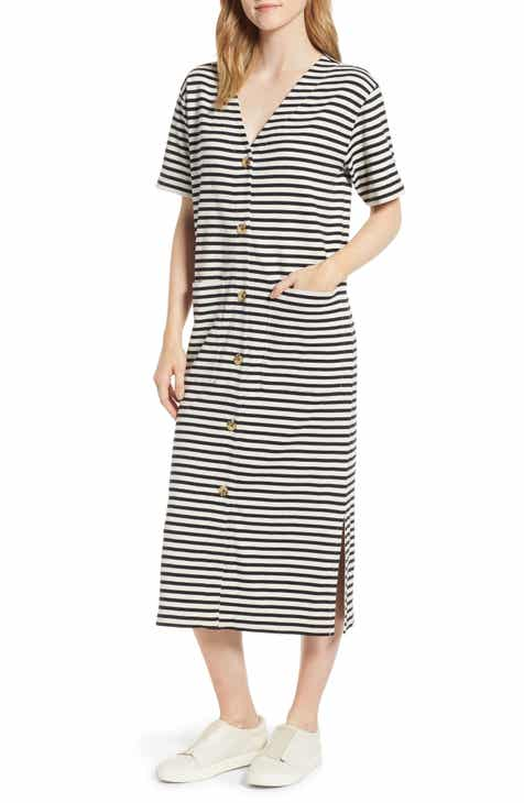 f4451854f78 Lou   Grey Joy Stripe Button-Up Cotton Midi Dress