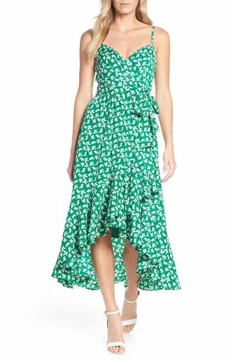 19c4829268c5 Eliza J Floral High Low Faux Wrap Dress
