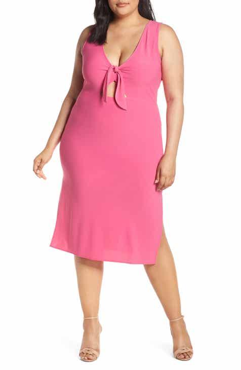 437b0c87ee0 Leith Tie Front Midi Dress (Plus Size)