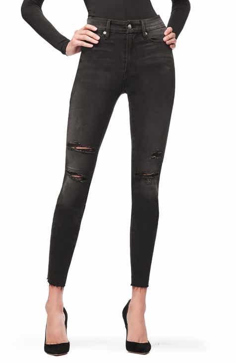 Good American Waist Raw Hem Ripped Jeans Black 034 Regular Plus Size