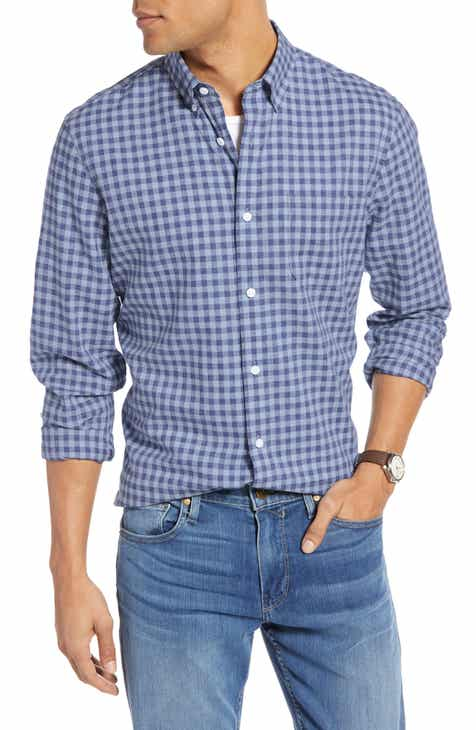 6491e414503 1901 Button Down Heather Gingham Linen Blend Sport Shirt