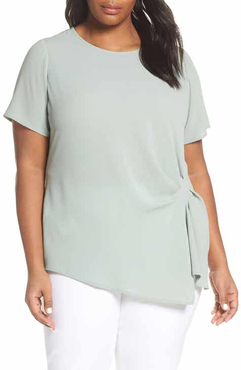 df23d77a446 Vince Camuto Side Pleat Mixed Media Blouse (Plus Size)