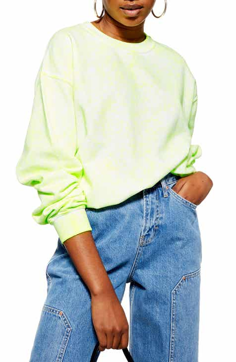 Topshop Fluorescent Washed Sweatshirt by TOPSHOP