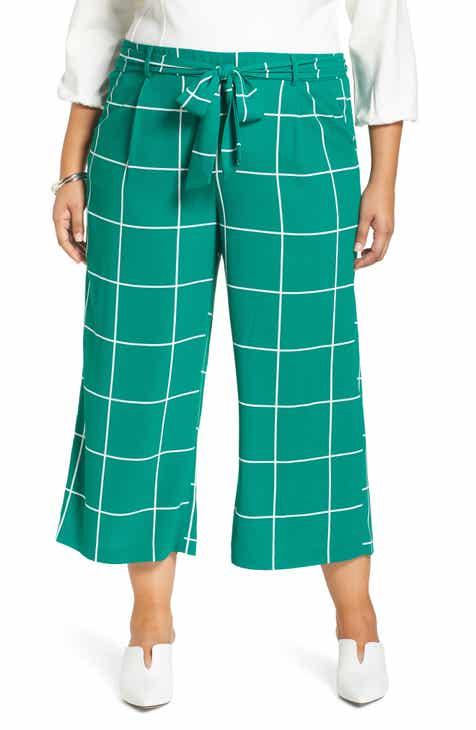 52526ea80ad Halogen® Tie Waist Wide Leg Cropped Pants (Plus Size)