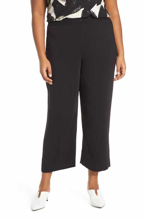 1.STATE Tie Waist Wide Leg Ankle Pants (Plus Size) by 1.STATE