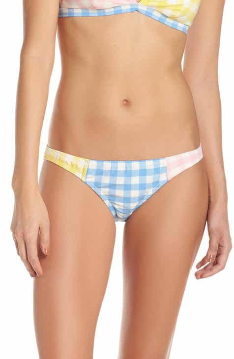 J.Crew Colorblock Gingham Low Rise Bikini Bottoms by J.CREW