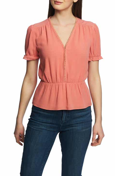 53d7691508cd6f STATE Circle Trim Peplum Blouse