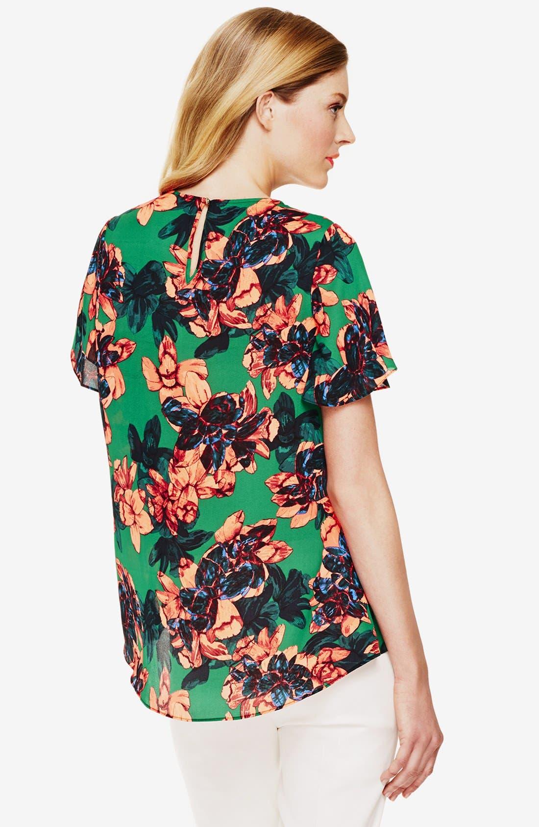 'Batik Floral' High/Low Blouse,                             Alternate thumbnail 2, color,                             Cactus