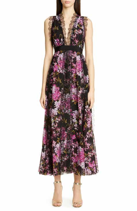 Giambattista Valli Lace Detail Floral Silk Evening Dress by GIAMBATTISTA VALLI