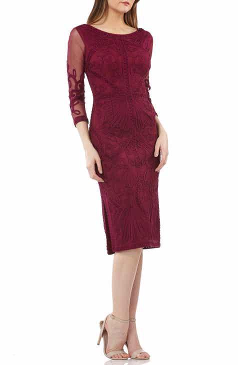 6aaa7a62585 JS Collections Sheer Sleeve Soutache Sheath Dress