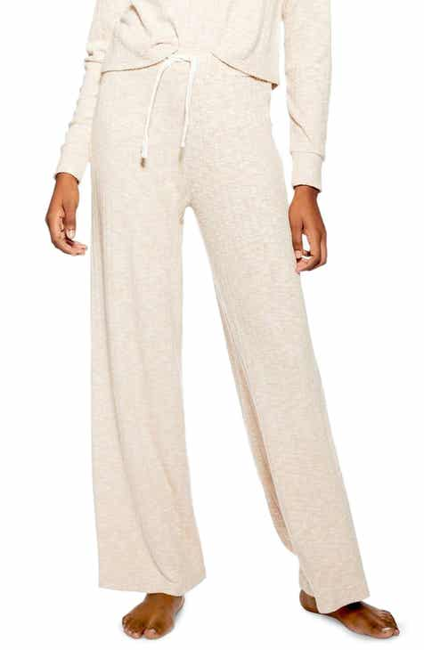 Topshop Ribbed Wide Leg Lounge Pants by TOPSHOP