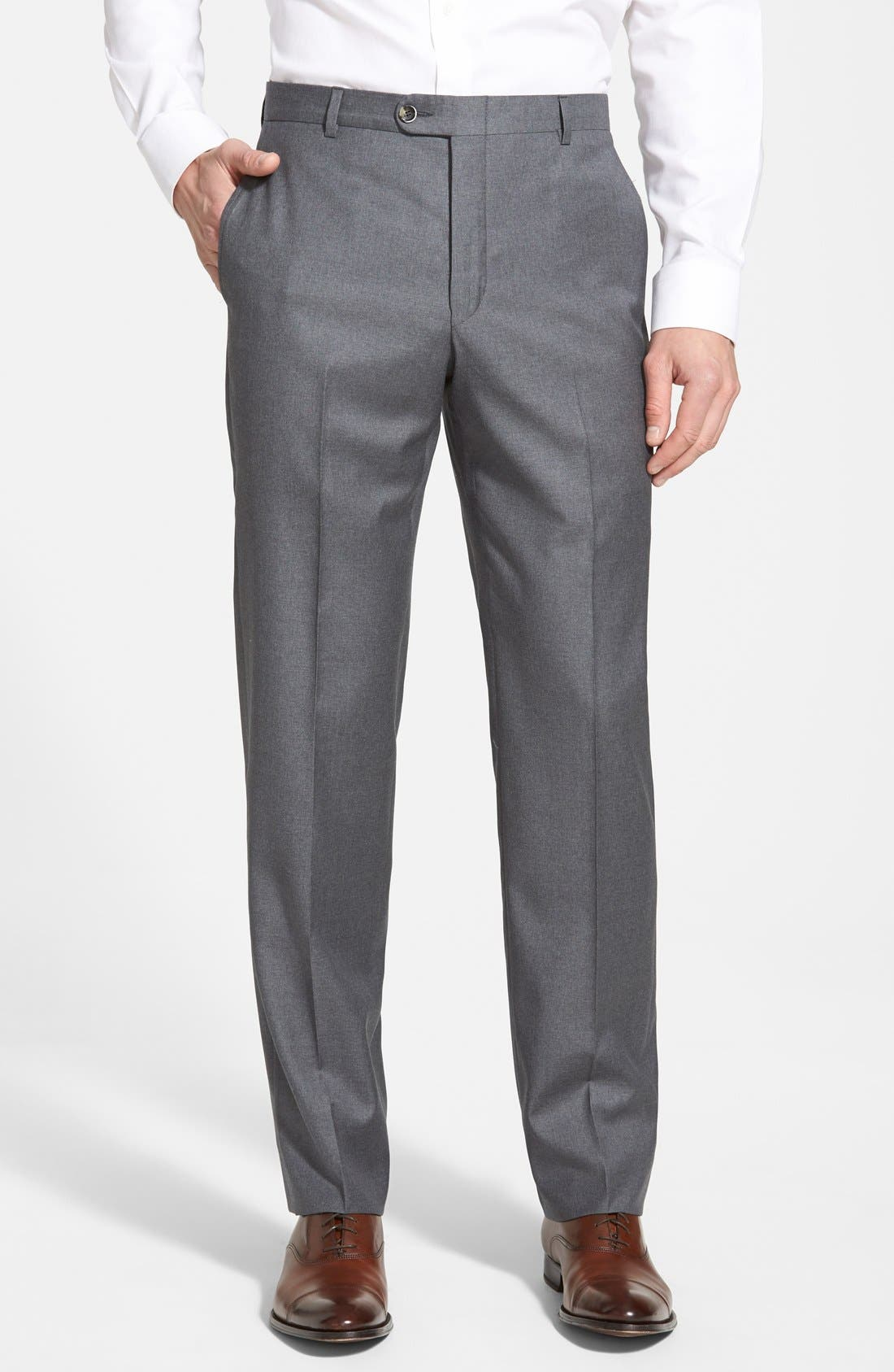 Classic B Fit Flat Front Wool Trousers,                             Main thumbnail 1, color,                             Grey