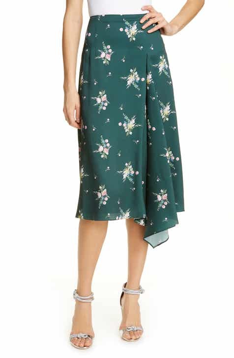 Gucci GG Waves Border Print Silk Twill Skirt by GUCCI