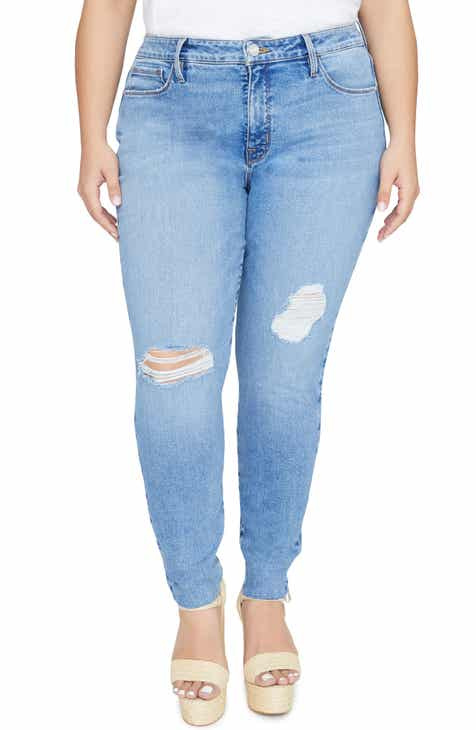 Good American Good Boy High Rise Ripped Boyfriend Jeans (Blue 177) (Regular & Plus Size) by GOOD AMERICAN