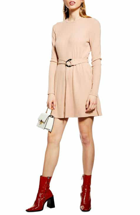 Topshop Long Sleeve Belted Minidress (Regular & Petite) by TOPSHOP