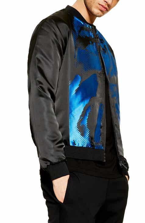 cd4847eb1ed0 Topman Satin Print Bomber Jacket