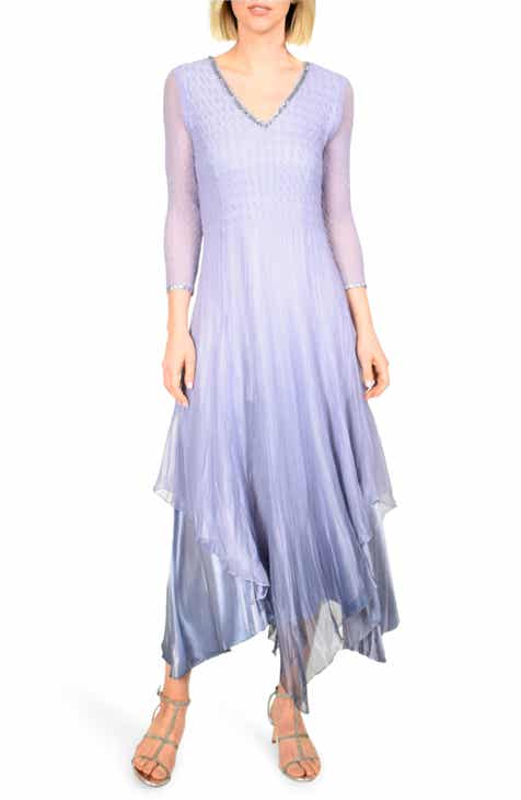 38d748cc24f Komarov Beaded V-Neck Chiffon Overlay Charmeuse Gown (Regular