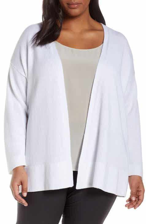 5a5449b3c7976e Eileen Fisher Organic Linen   Cotton Cardigan (Plus Size).  268.00. Product  Image. New!