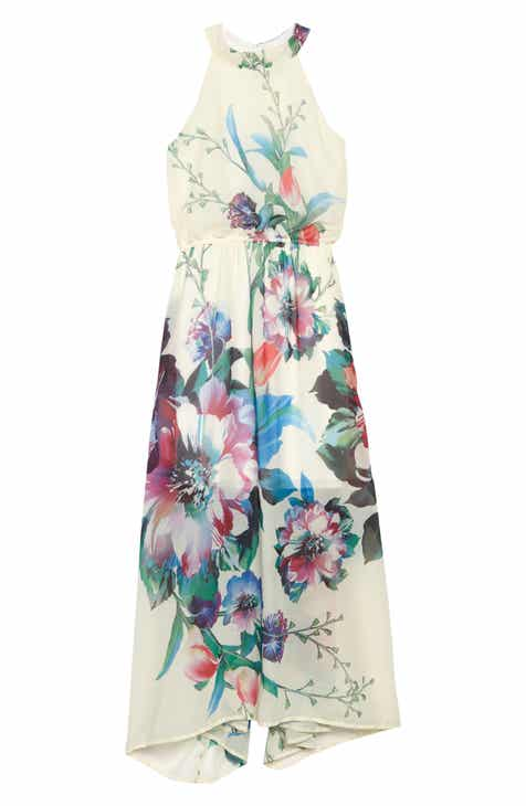 Ava & Yelly Floral Print Chiffon Maxi Dress (Big Girls)