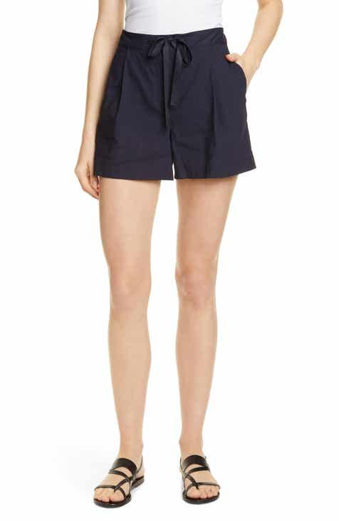 Joie Galenia Topstitch Tie Front Stretch Cotton Shorts by JOIE