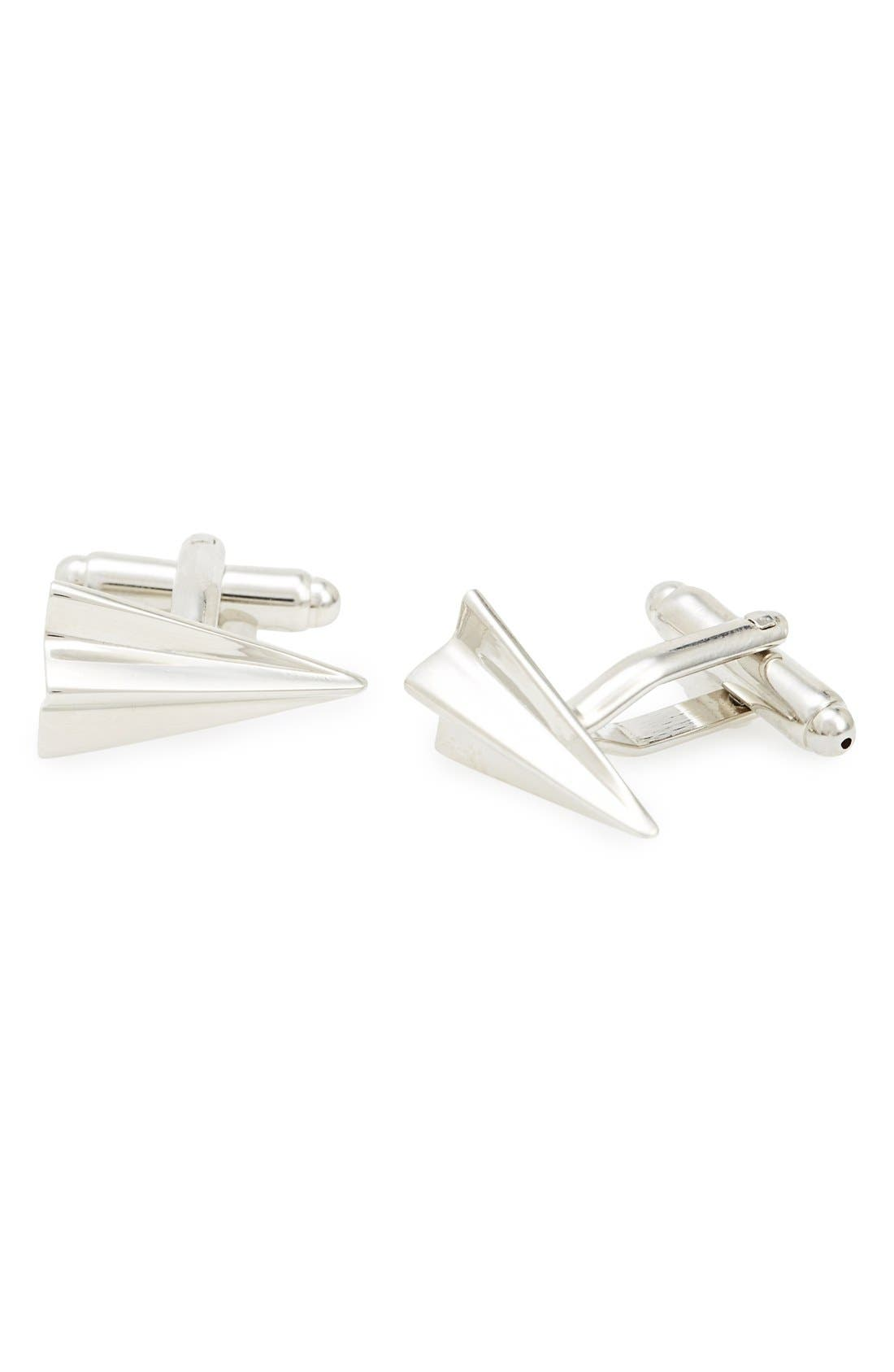 'Paper Airplane' Cuff Links,                         Main,                         color, Silver