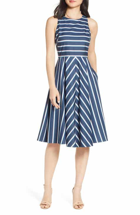 19389b9b354 Eliza J Stripe Fit   Flare Dress (Regular   Petite)