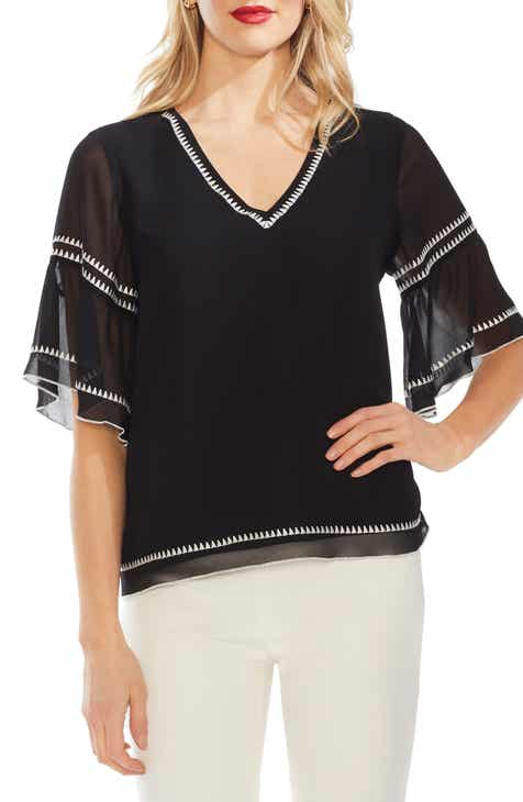 Vince Camuto Bell Sleeve Embroidered Chiffon Top