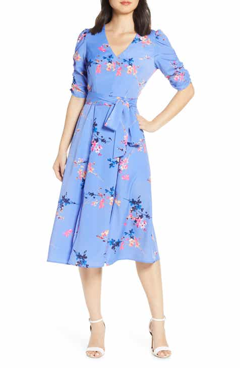 Eliza J Floral Ruched Sleeve Crêpe de Chine Midi Dress