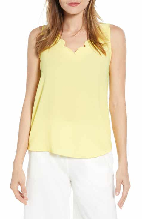 e1419e5f2778f Gibson x Living in Yellow Savannah Scalloped V-Neck Tank (Regular   Petite)  (Nordstrom Exclusive)