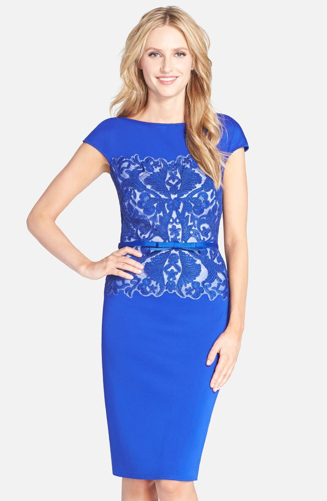 Main Image - Tadashi Shoji Belted Embroidered Neoprene Sheath Dress (Regular & Petite)