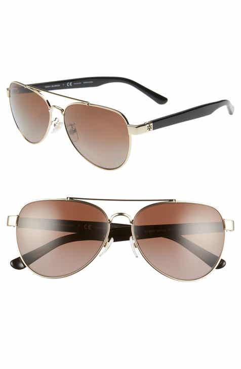 f1f27e64a02d Tory Burch 57mm Polarized Aviator Sunglasses