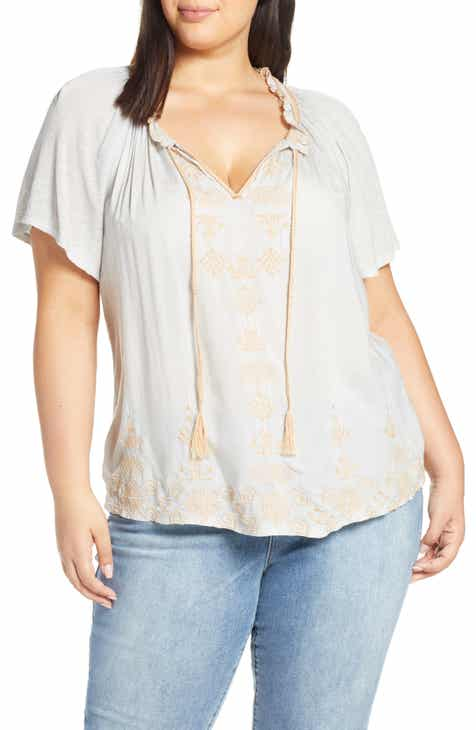 19ad9ae07edff6 Lucky Brand Embroidered Peasant Top (Plus Size)