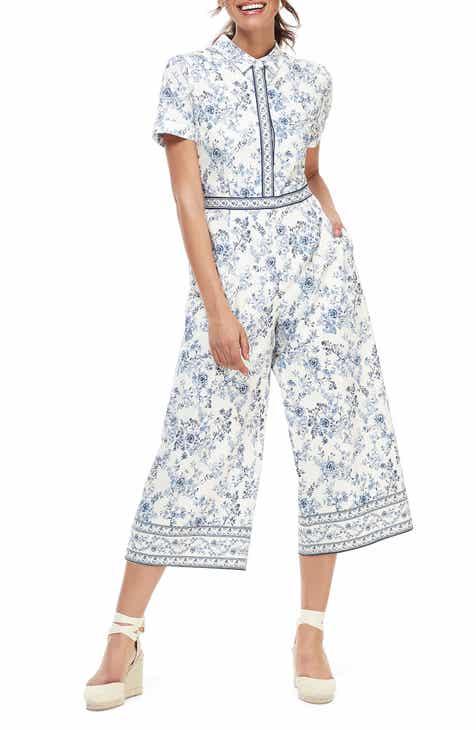 Gal Meets Glam Collection Border Print Wide Leg Crop Jumpsuit (Regular, Petite & Plus Size)