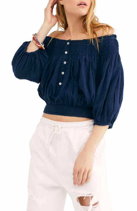 a379970979f Free People Dancing till Dawn Off the Shoulder Crop Top