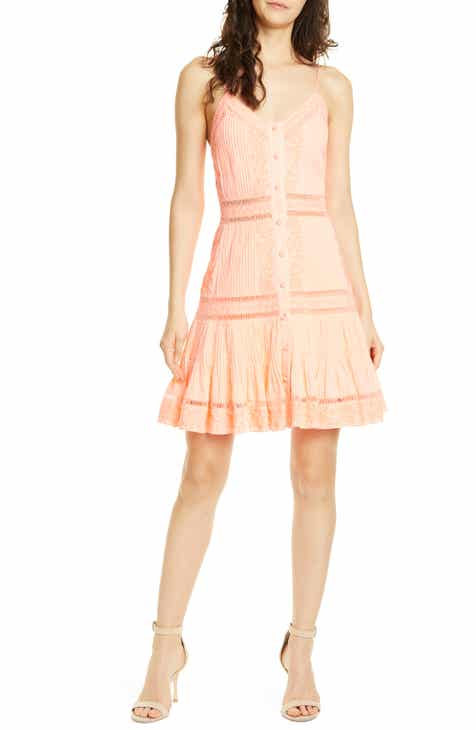 39be00261120 Alice + Olivia Marci Embroidery   Pintuck Button Front Sundress