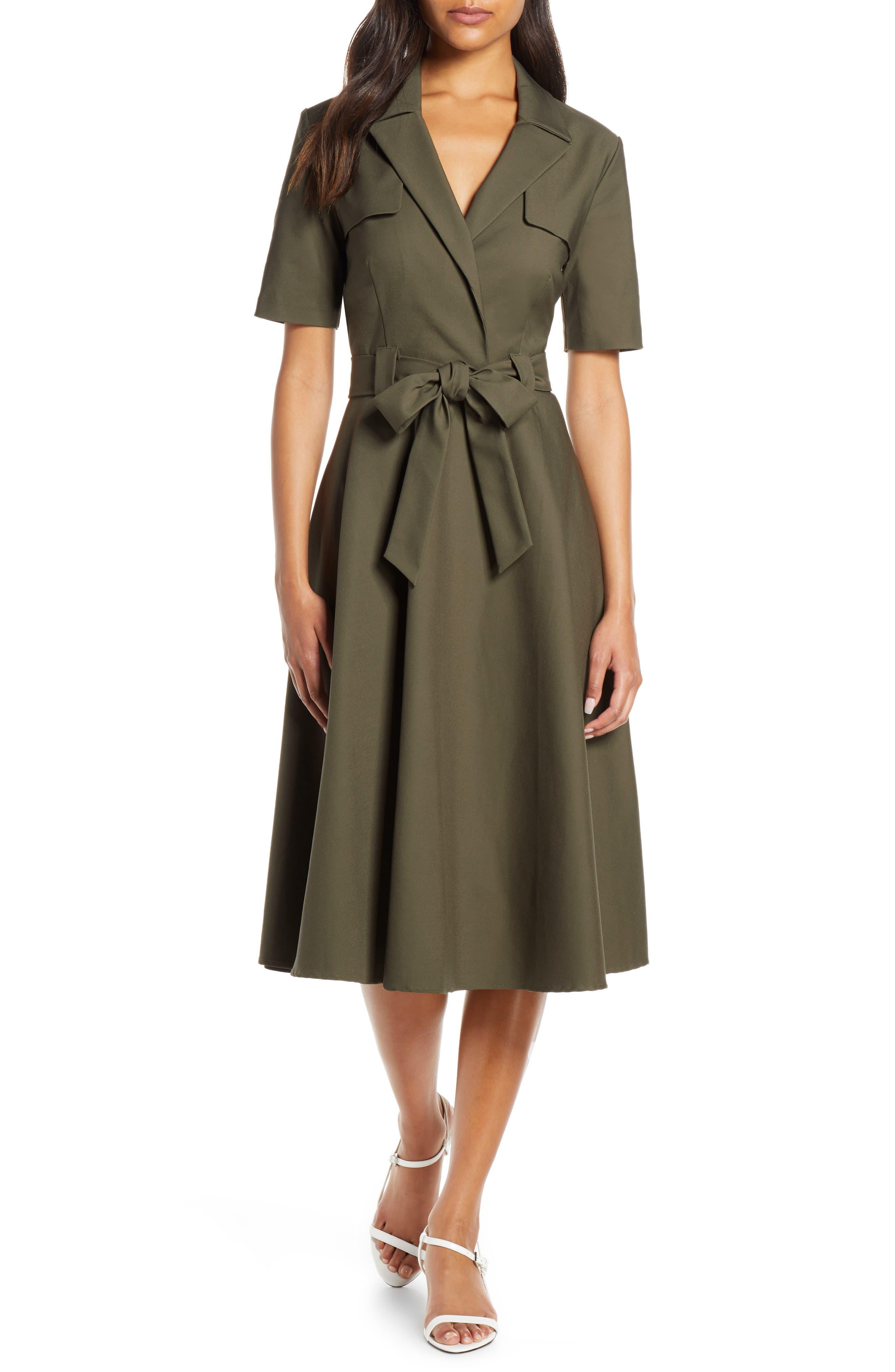 Designer Inspired Belted Lace Floral Shirt Dress