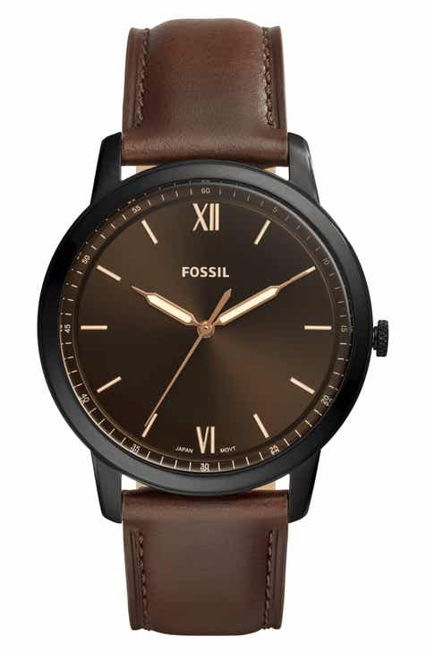 2b41c5fed22 Fossil Minimalist Leather Strap Watch