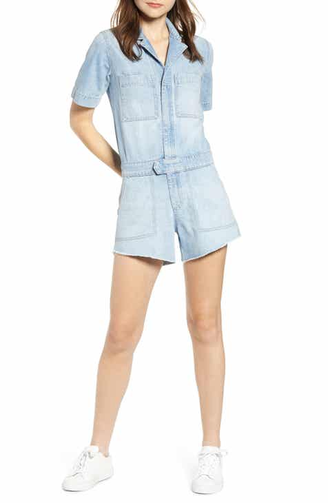 Tinsel Polka Dot Belted Denim Shorts by TINSEL