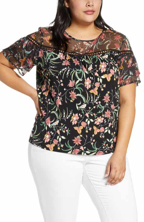 6a2fd102263bf CeCe Floral Ruffle Top (Plus Size)