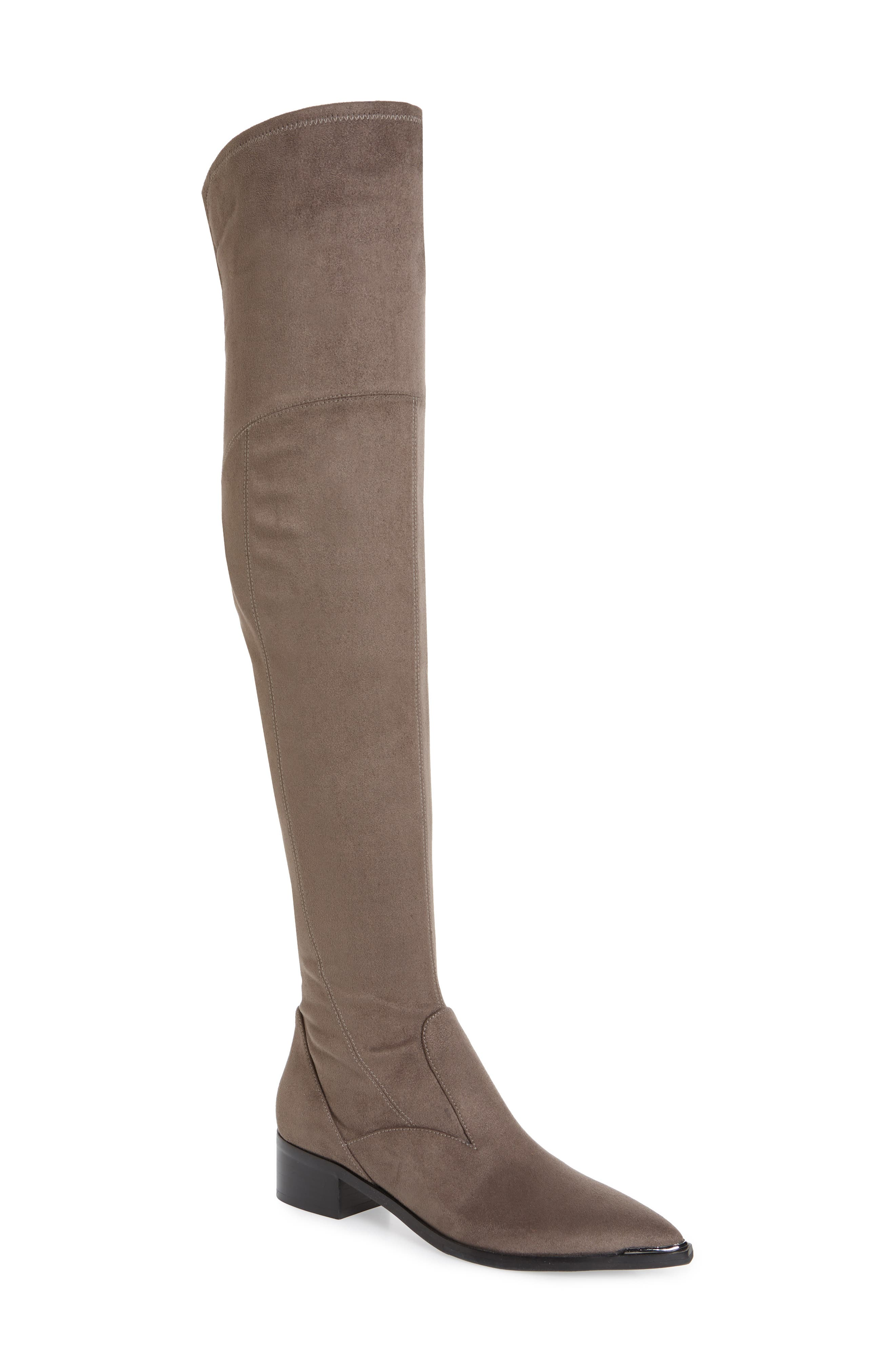 Leather high top boots Beige